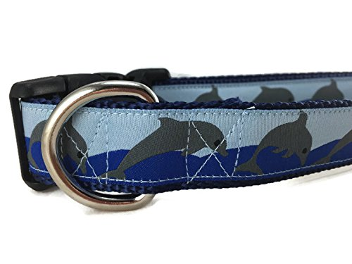 CANINEDESIGN QUALITY DOG COLLARS Ocean Dog Collar, Caninedesign, Quick Release Buckle, 1 inch wide, adjustable, nylon, medium and large (Dolphins, Medium 13-19)