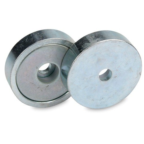 Neodym Flachgreifer /Ø 20,0 x 7,0 mm mit Bohrung h/ält 6 kg Magnet zum Anschrauben Topfmagnet verzinkter Stahltopf