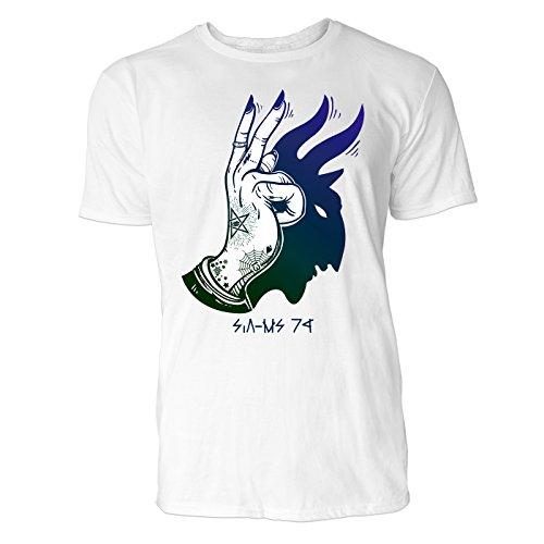 SINUS ART ® Tätowiertes Hand mit Schatten des Teufels Herren T-Shirts in Weiss Fun Shirt mit tollen Aufdruck