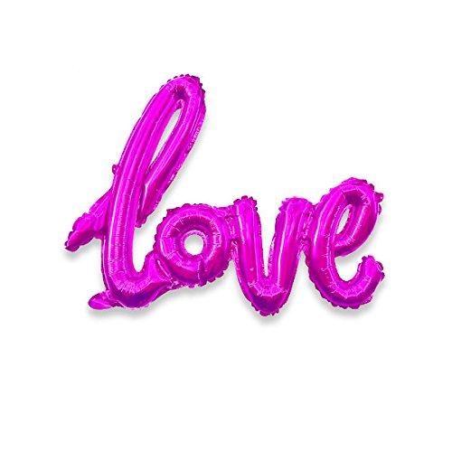 Love Cursive Balloon 40 Magenta Script Balloon Engagement Party Balloon