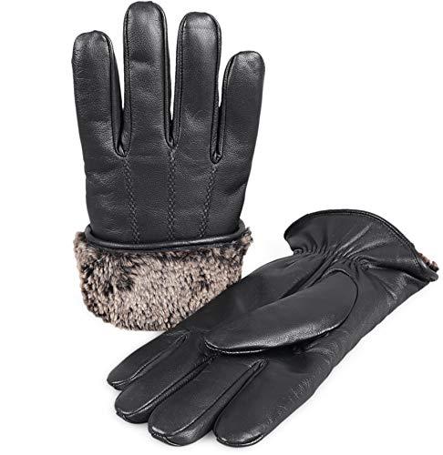- Zavelio Men's Premium Shearling Sheepskin Fur Lined Leather Gloves Black Xlarge