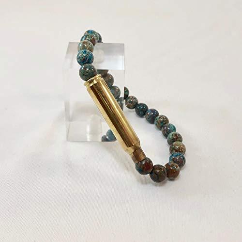 Blue Crazy Lace Agate 223 Caliber Bullet Bracelet ()