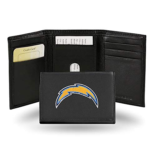 Rico Industries Los Angeles Chargers Wallet Premium Black Leather Billfold Embroidered Football