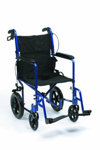 Drive Medical Expedition EXP19BL Rollstuhl / Reiserollstuhl, Aluminium, leicht, 46cm (19Zoll), Blau