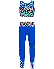FEESHOW Girls Kids Gymnastic Dance Sports Outfits Tracksuits Activewear Gym Exercise Tank Top with Leggings Set