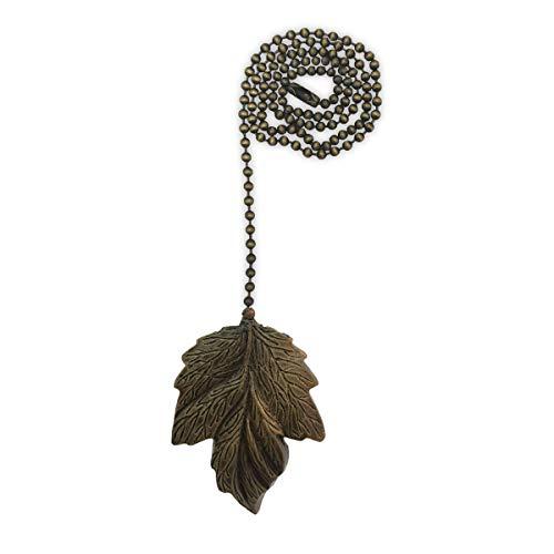 Royal Designs FP-1006AB-1 Leaf Design Fan Pull Chain, Antique Brass