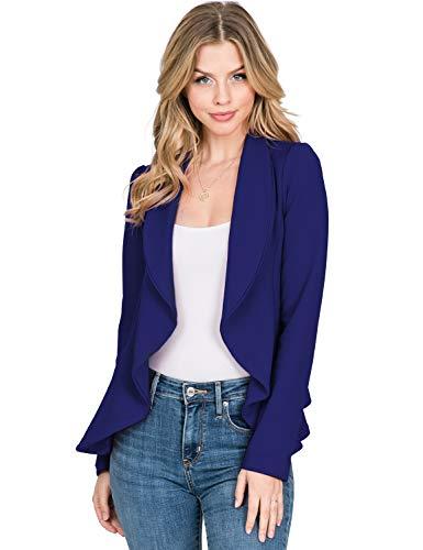 CLOVERY Women's Long Sleeve Open Front Blazer Long Sleeve Slim Fit Work Office Cardigan Jacket, Royal Large