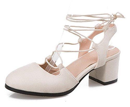 Allhqfashion Dames Solide Frosted Kitten-hakken Ronde Neus Veterschoenen Pumps-schoenen Beige