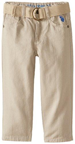 U.S. Polo Assn. Little Boys' Belted Twill 5 Pocket Pant, Light Khaki, 3T