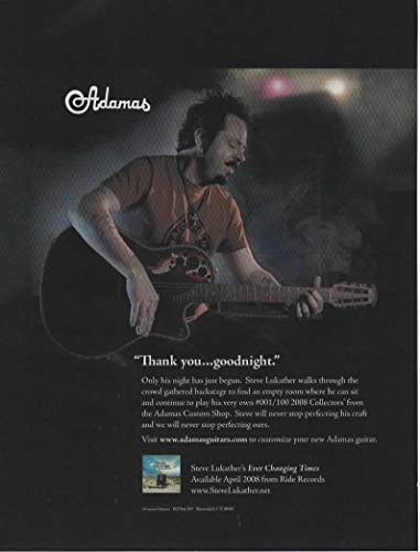 Magazine Print ad: 2008 Steve Lukather for Adamas Custom Shop 001/100 2008 Collectors' Acoustic-Electric Guitar,