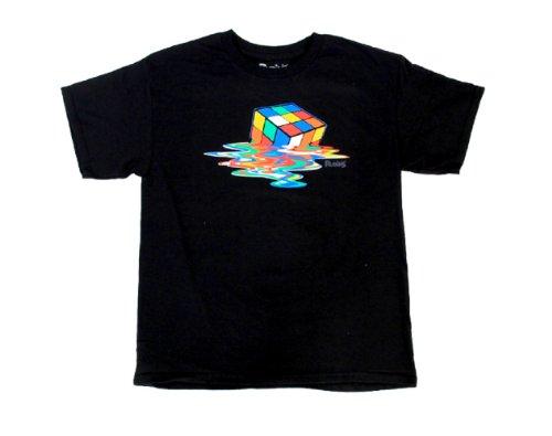 Licensed Mens Tee - Rubik's Melting Cube Black T-Shirt (Adult Medium)