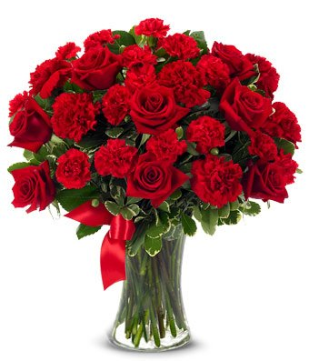 From You Flowers - Red Roses + Red Carnations - Mixed Bouquet (Free Vase Included) Measures 17