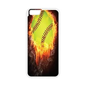 Softball Series, IPhone 6 Case, Softball on Fire Case for IPhone 6 [White]