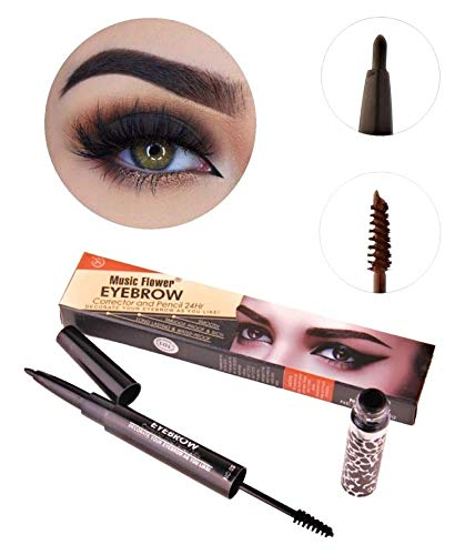 Long Lasting Waterproof Smudge-Proof Eyebrow 2 in 1 Double Sided Brow Sculpting Duo Brow Gel Cream and Retractable Automatic Brow/Eyeliner Pencil 24Hr Tattoo Pen (#01 Dark Coffee) -