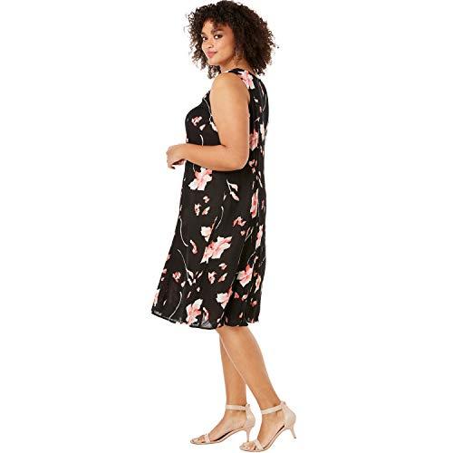 Roamans Women's Plus Size A-Line Crinkle Dress with Tassel Ties - Black Graphic Floral Print, 22/24