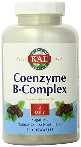 Kal Chewable Vitamins (KAL Coenzyme B-Complex Tablets, Cocoa Mint, 60 Count)