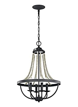 Feiss F3187 4DWZ DWG Nori Bead Chandelier Lighting, Bronze, 4-Light 17 Dia x 29 H 240watts