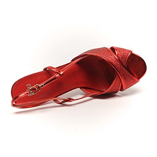 BLU SHU - Sandalias de vestir para mujer Rojo rojo