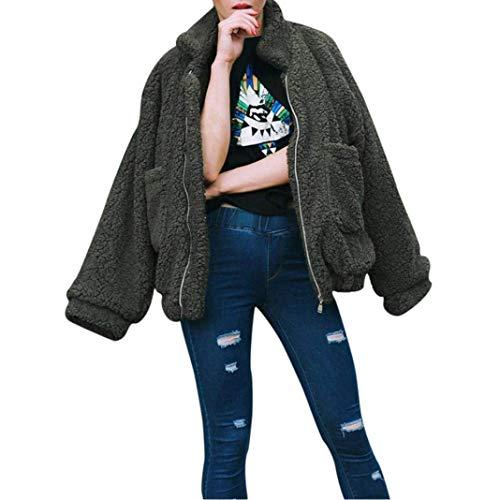 Huixin Abrigo Lana Mujer Invierno Anchos Chaqueta De Lana De Solapa Manga Larga Bolsillos Delanteros Modernas Parkas con Cremallera Outerwear Grün
