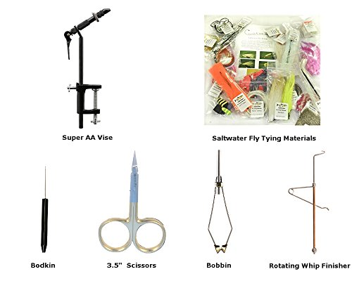 Beginner Fly Tying Kits for Trout, Saltwater or Bass/Panfish Fly Fishing Flies (Saltwater) Super Aa Vise