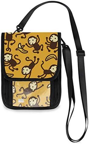 トラベルウォレット ミニ ネックポーチトラベルポーチ ポータブル 猿 サル モンキー 小さな財布 斜めのパッケージ 首ひも調節可能 ネックポーチ スキミング防止 男女兼用 トラベルポーチ カードケース