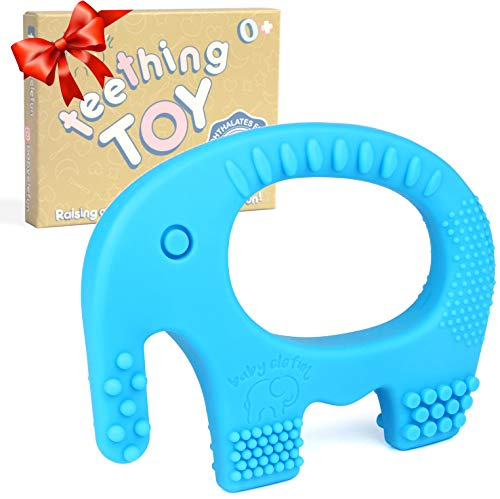 Teething Toys For Babies 6-12 Months - BPA Free Silicone Chew Toy - Cute, Easy To Hold, Soft And Highly Effective Elephant Teether Ring, Best Teethers Rings For Freezer, Valentine Gifts For Baby Boys