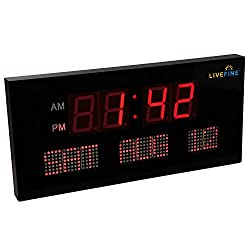 Ivation Big Oversized Digital Red LED Calendar Clock with Day and Date - Shelf or Wall Mount