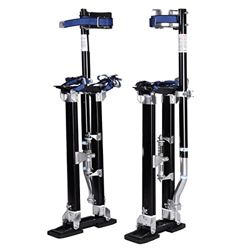 "Goplus Drywall Stilts 18"" - 30"" Aluminum Painting Stilts Lift Tools for Taping Finishing (Black)"