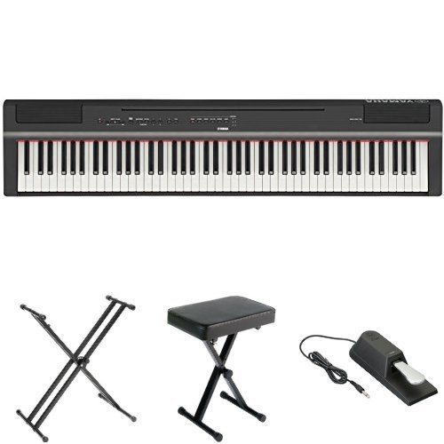 Yamaha P125 Digital Piano Bundle with X Stand, Bench and Sustain Pedal, Black by YAMAHA