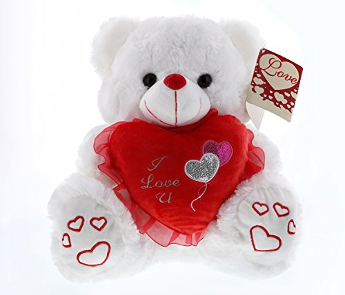 Mozlly Multipack Super Soft Plush White LED Lights and Singing Bear - I Love U - Love Me Tender - 14 inch - Valentines Wedding Anniversary Get Well Gifts (Pack of 3)