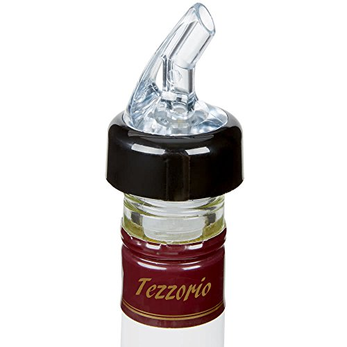 (Pack of 12) Measured Liquor Bottle Pourers, 1.5 oz, Clear Spout Bottle Pourer with Yellow Tail and Black Collar, Measured Pour Spouts byTezzorio by Tezzorio Bar Supplies (Image #1)