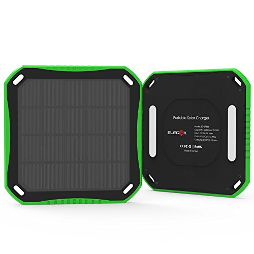 Solar Power Bank, Outdoor Solar Phone Charger ELEGEEK Waterproof Solar Battery Pack with Dual USB Output and LED Flashlight for Smart Phone Gopro Camera GPS and All 5V USB Devices (Green) by EleGeek