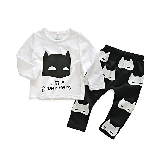 2pcs Baby Boy T-shirt Tops+Pants Casual Outfits (White+Black) - 2
