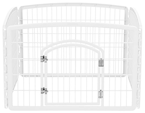 "IRIS 4-Panel Pet Playpen with Door, size 35.25""L x 35.25""W x 24""H"