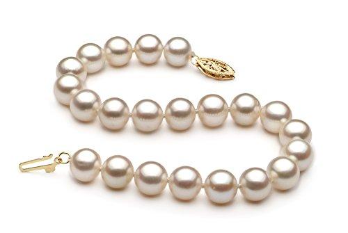 Blanc 7.5-8.5mm AA-qualité perles d'eau douce -Bracelet de perles