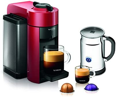 Nespresso A GCC1-US-RE-NE VertuoLine Evoluo Coffee Espresso Maker with Aeroccino Plus Milk Frother, Red Discontinued Model