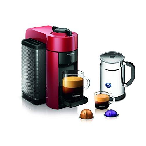 Nespresso A GCC1-US-RE-NE VertuoLine Evoluo Coffee Espresso Maker with Aeroccino Plus Milk Frother, Red Discontinued Model