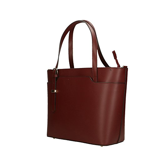 en à en Bordeaux Cm Aren véritable fabriqué 37x27x12 italie cuir femme sac main 68qwOT