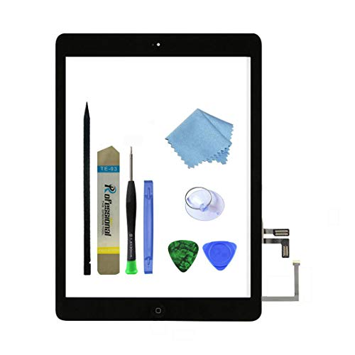 Zentop Black IPad Air 1st Generation Touch Screen Digitizer Glass Replacement Modle A1474 A1475 A1476 with Home Button,Camera Holder,Preinstalled Adhesive,Tool Kit. by Zentop
