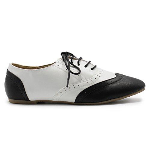 Ollio Flat Oxford Lace Womens Black Shoe Heel Classic Low white Dress Up rRrFq0