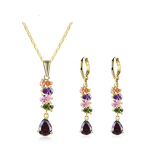 ISAACSONG.DESIGN Gold Tone Necklace Earring Set for Women V-shape Drop Crystal Bridal Wedding Jewelry (Green)