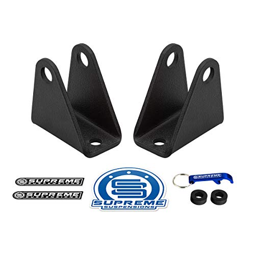 Supreme Suspensions - Front Shock Extenders for Chevrolet Silverado Heavy Duty Series 8-Lug High-Strength Carbon Steel Shock Extension Brackets Kit 2WD 4WD (Black)