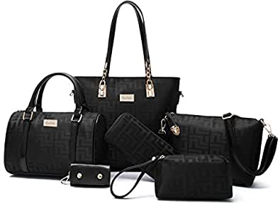 Women Shoulder Bag Tote Bag for Work Handbag and Purse 6 Piece Set Bag (Black-2)
