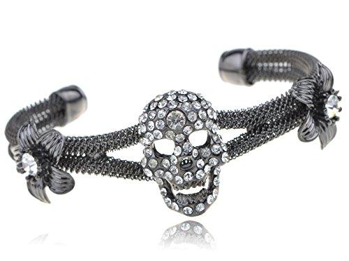 - Alilang Gunmetal Tone Clear Crystal Rhinestone Skull Two Flowers Mesh Cuff Bangle Bracelet
