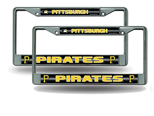 Rico Pittsburgh Pirates Chrome Metal (2) Bling License Plate Frame Set