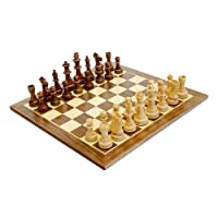 WE Games Traditional Staunton Wood Chess Set with Distressed Wooden Board - 14.75 inch Board with 3.75 inch King