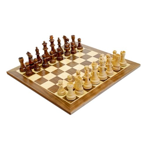 WE Games Traditional Staunton Wood Chess Set with Distressed Wooden Board - 14.75 inch Board with 3.75 inch King (Wood Set Popular Chess)