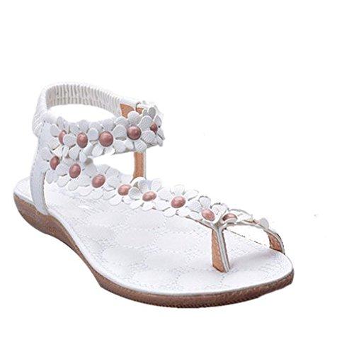 Ularma 2016 Moda Bohemia verano dulce dulce de la mujer moldeado zapatos sandalias Clip pies sandalias playa blanco