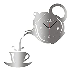 New Arrival Wall Clock Mirror Effect Coffee Cup Shape Decorative Kitchen Wall Clocks Living Room Home Decor (Silver)