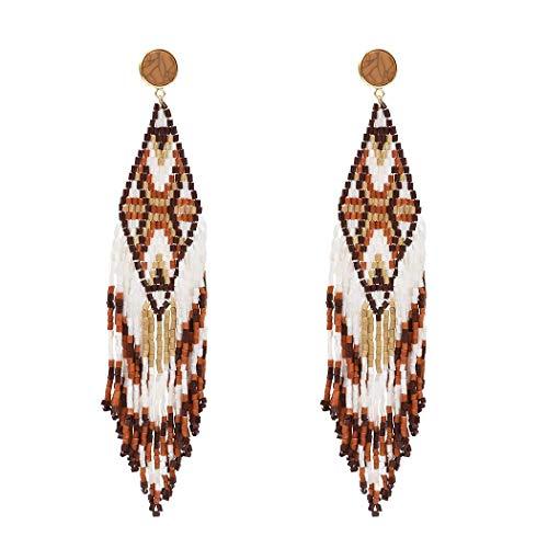 Bohemian Statement Beaded Long Tassel Earrings Women Wood Multi Ear Jewelry (Color Brown)